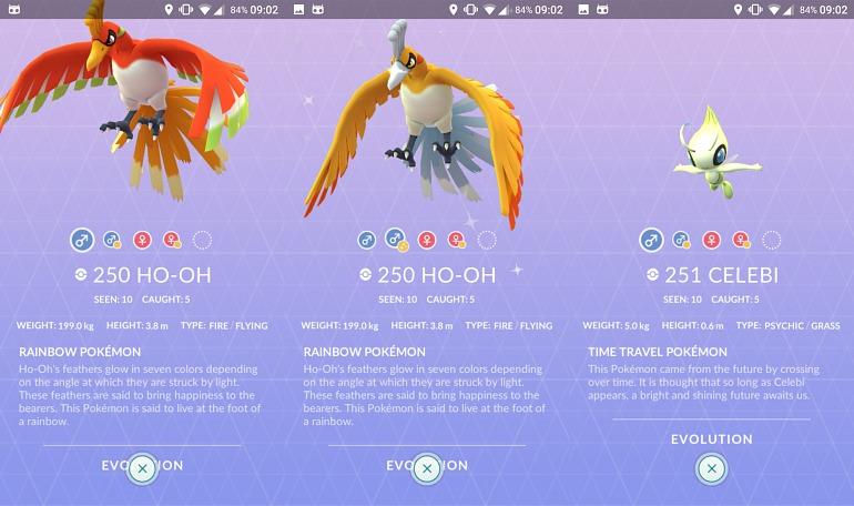 Pokémon GO: Ho-Oh y Celebi aparecen entre los datos de la nueva actualización