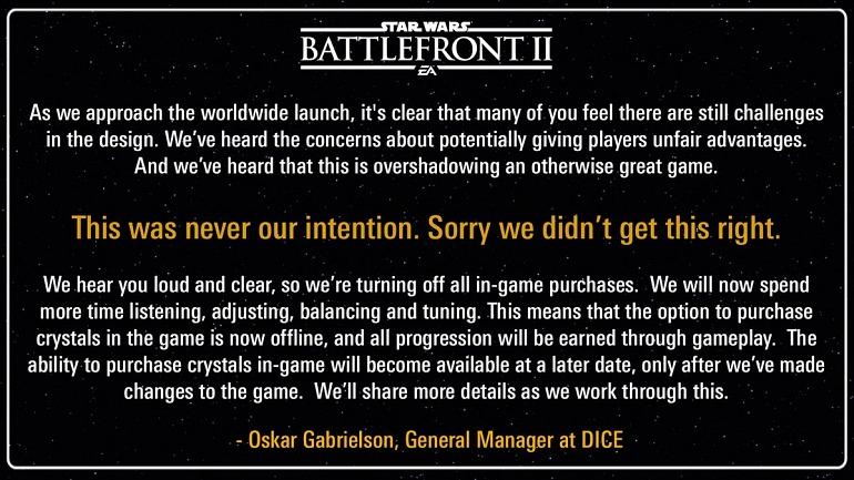 EA elimina temporalmente las microtransacciones de Star Wars Battlefront 2